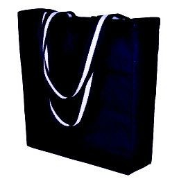 Picture of BONGO 10OZ CANVAS SHOPPER TOTE BAG in Black with Long White Stripe Handles