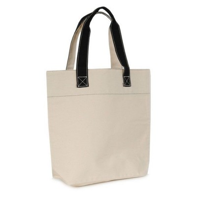 KAA 16OZ NATURAL CANVAS SHOPPER TOTE BAG with Medium Black Canvas Handles