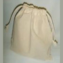 NATURAL COTTON LARGE DRAWSTRING POUCH in Natural