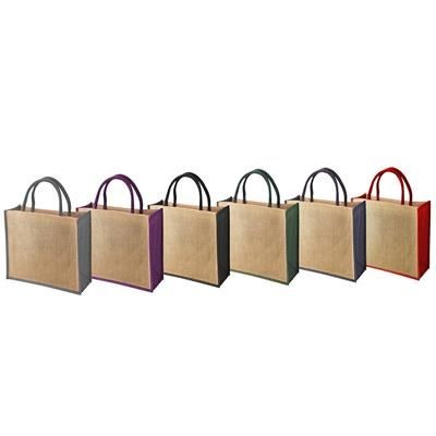Picture of TEMBO CT JUTE SHOPPER TOTE BAG with Colour Trim & Matching Short Cotton Cord Handles