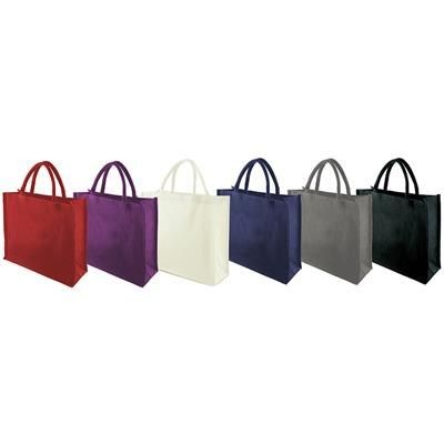 TEMBO FC JUTE SHOPPER TOTE BAG with Short Cotton Cord Handles