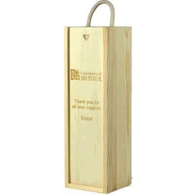 Picture of BRANDED SINGLE WOOD WINE GIFT BOX