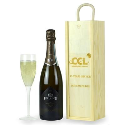 Picture of BRANDED WOOD GIFT BOX with Prosecco