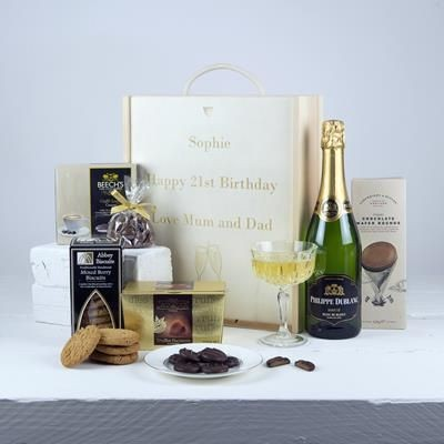 Picture of BRANDED WOOD GIFT HAMPER - SWEETS CELEBRATION
