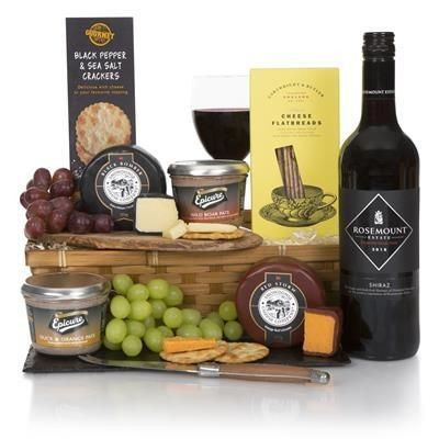 Picture of WINE, CHEESE & PATE HAMPER 75cl Rosemount Diamond Selection Shiraz 2018,Gourmet Black Pepper & Sea S