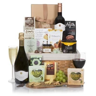 Picture of LUXURY FOOD & WINE GIFT BASKET 75cl Cortefresca Prosecco,75cl Cortefresca Merlot 2017,Yorkshire Cris