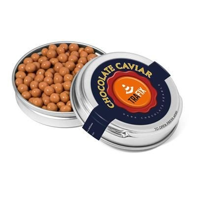 Picture of SILVER CAVIAR TIN FILLED with Salted Caramel Chocolate Pearls