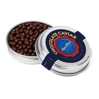 Picture of SILVER CAVIAR TIN FILLED with Dark Chocolate Pearls