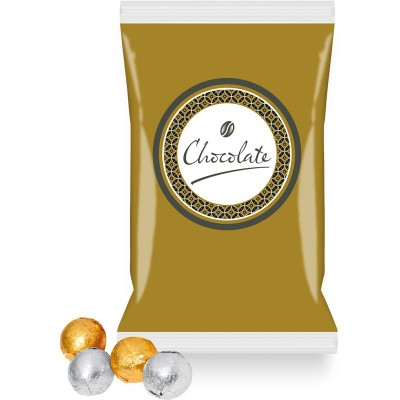 Picture of DIGITAL PRINTED FLOW BAG FILLED with Gold & Silver Foil Wrapped Milk Chocolate Balls