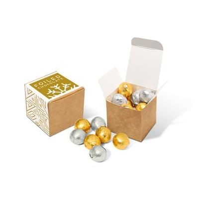 Picture of ECO KRAFT CUBE with Foiled Chocolate Balls