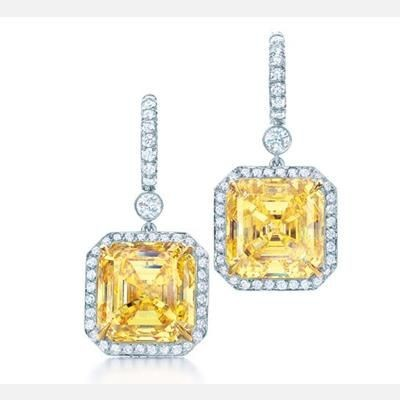 Picture of LAB CREATED CITRINE STONE CZ SIMULATED DIAMOND DROP EARRINGS