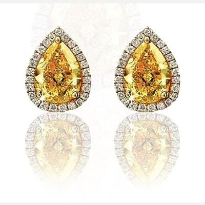 Picture of CITRINE LAB GEMSTONE AND SWAROVSKI ELEMENT GEMSTONE PEAR SHAPE STUD EARRINGS