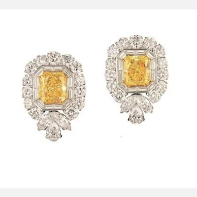 Picture of CITRINE LAB GEMSTONE AND SWAROVSKI ELEMENT GEMSTONE STATEMENT STUD EARRINGS