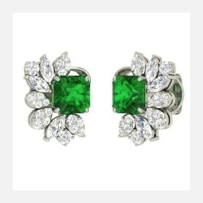 Picture of EMERALD GEMSTONE AND SWAROVSKI ELEMENT SIMULATED DIAMOND STATEMENT STUD EARRINGS
