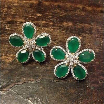 Picture of SIMULATED DIAMOND AND LAB CREATED EMERALD STUD EARRINGS
