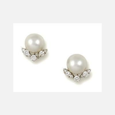 Picture of CULTURED PEARL & CZ SIMULATED DIAMOND STUD EARRINGS