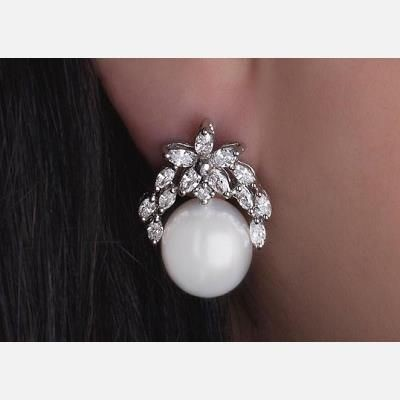 Picture of SIMULATED DIAMOND AND PEARL DROP EARRINGS