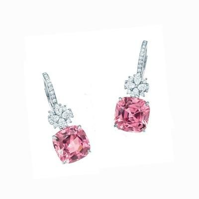 Picture of SWAROVSKI ELEMENT SIMULATED DIAMOND AND PINK GEMSTONE DROP EARRINGS