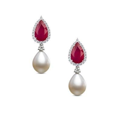 Picture of LAB CREATED RUBY AND PEARL DROP EARRINGS