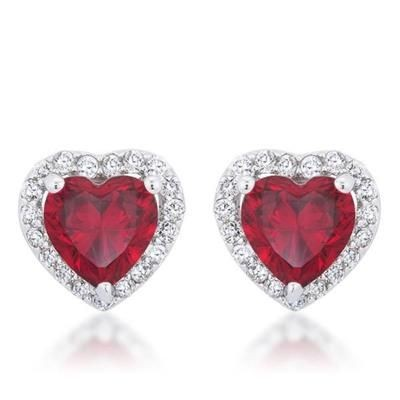 Picture of HEART SHAPE SYNTHETIC RUBY AND SWAROVSKI ELEMENT SIMULATED DIAMOND VALENTINES STUD EARRINGS