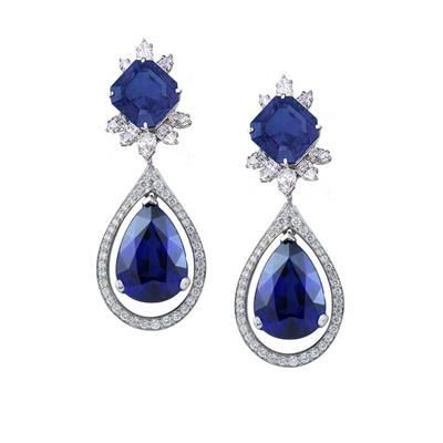 Picture of SIMULATED DIAMOND AND LAB CREATED SAPPHIRE DANGLER DROP EARRINGS