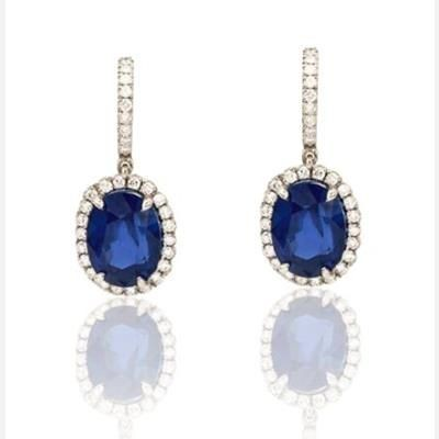 Picture of MYSTIC LAB SAPPHIRE GEM AND SIMULATED DIAMOND DANGLER EARRINGS