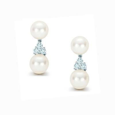 Picture of CULTURED PEARL DROP EARRINGS with Simulated Swarovski Diamonds