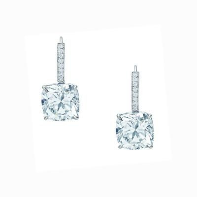 Picture of SWAROVSKI ELEMENT SIMULATED DIAMOND SOLITAIRE DROP EARRINGS