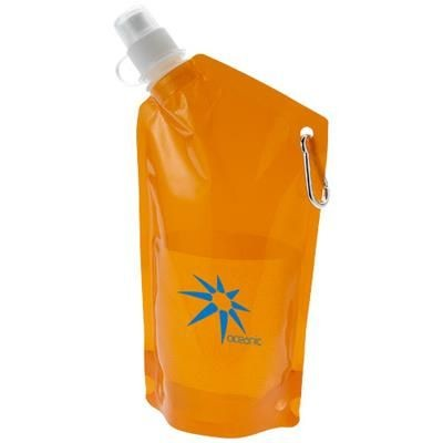 Picture of CABO 600 ML WATER BAG with Carabiner in Clear Transparent Orange
