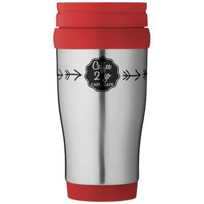 Picture of SANIBEL 400 ML THERMAL INSULATED MUG in Silver-red
