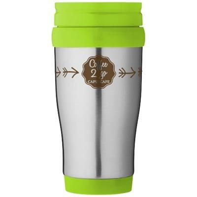 Picture of SANIBEL 400 ML THERMAL INSULATED MUG in Silver-lime Green