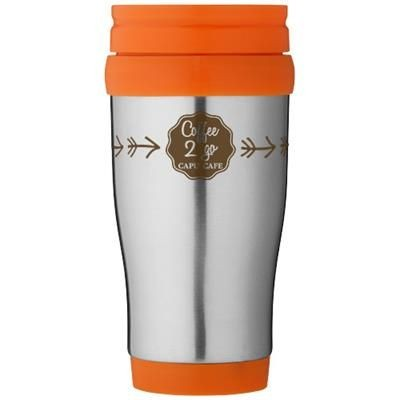 Picture of SANIBEL 400 ML THERMAL INSULATED MUG in Silver-orange