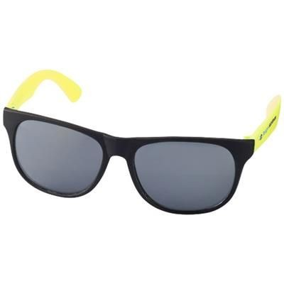 Picture of RETRO DUO-TONE SUNGLASSES in Neon Fluorescent Yellow-black Solid