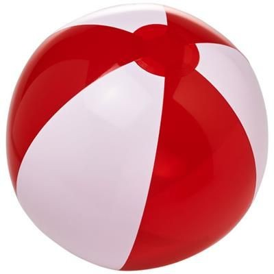 BONDI SOLID AND CLEAR TRANSPARENT BEACH BALL in White Solid-red