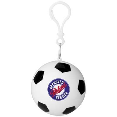 Picture of XINA RAIN PONCHO in Storage Football with Keyring Chain in White Solid-black Solid