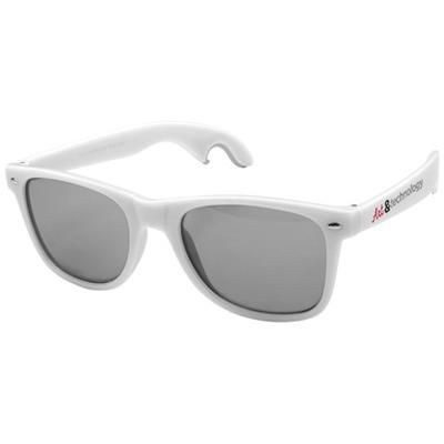 Picture of SUN RAY SUNGLASSES with Bottle Opener in White Solid