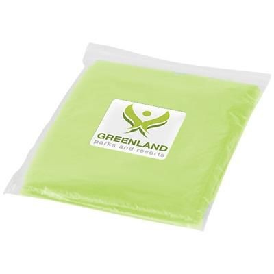 Picture of ZIVA DISPOSABLE RAIN PONCHO with Storage Pouch in Lime