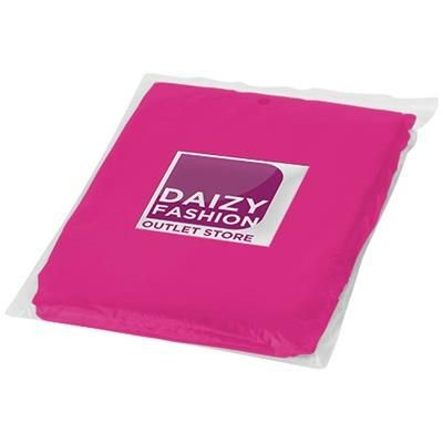 Picture of ZIVA DISPOSABLE RAIN PONCHO with Storage Pouch in Pink
