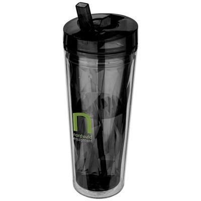 Picture of HOT COLD FLIP SIP GEOMETRIC THERMAL INSULATED TUMBLER in Black Solid