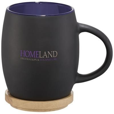 Picture of HEARTH 400 ML CERAMIC POTTERY MUG with Wood Lid-coaster in Black Solid-blue