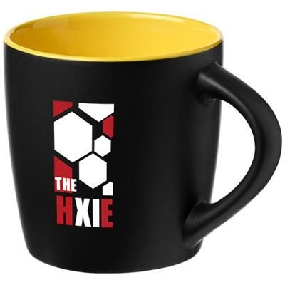 Picture of RIVIERA 340 ML CERAMIC POTTERY MUG in Black Solid-yellow