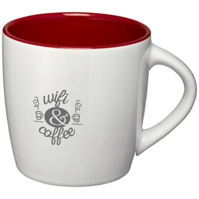 Picture of AZTEC 340 ML CERAMIC POTTERY MUG in White Solid-red