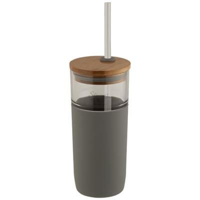 Picture of ARLO 600 ML GLASS TUMBLER with Bamboo Lid in Grey