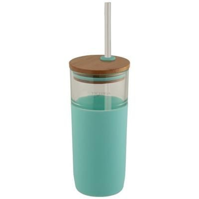 Picture of ARLO 600 ML GLASS TUMBLER with Bamboo Lid in Mints