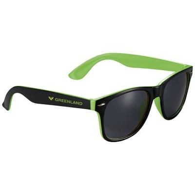 Picture of SUN RAY SUNGLASSES with Two Colour Tones in Lime-black Solid