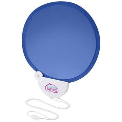 Picture of BREEZE FOLDING HAND FAN with Cord in Royal Blue-white Solid