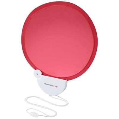 Picture of BREEZE FOLDING HAND FAN with Cord in Red-white Solid