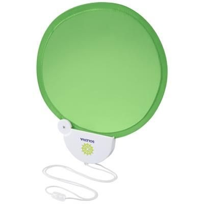 Picture of BREEZE FOLDING HAND FAN with Cord in Lime-white Solid
