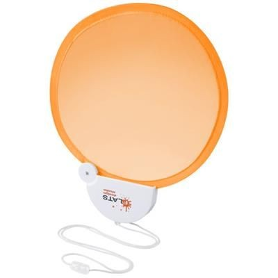 Picture of BREEZE FOLDING HAND FAN with Cord in Orange-white Solid