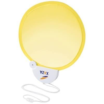 Picture of BREEZE FOLDING HAND FAN with Cord in Yellow-white Solid